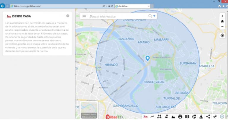 El Ayuntamiento de Bilbao habilita una nueva herramienta online para consultar qué zonas comprende el radio de 1km