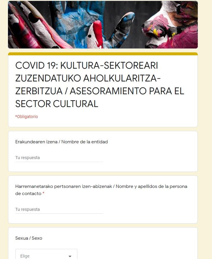 Eusko Jaurlaritzak abian jarritako kultur eragileentzako aholkularitza zerbitzuak 461 kontsulta jaso ditu azken hilean